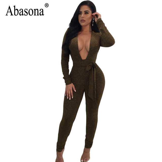1defde9cb09b0 US $16.58 |Abasona Sexy Jumpsuits Long Sleeve V Neck Bow Sashes Playsuits  Skinny Long Pants Women Overalls Party Club Jumpsuit Rompers-in Jumpsuits  ...