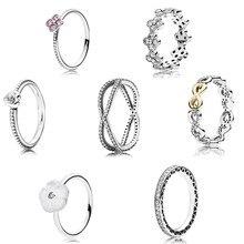 2016 colección Primavera 925 Anillo de plata esterlina para las mujeres Flores y corazones anillos de plata fina Memnon joyería conjunto