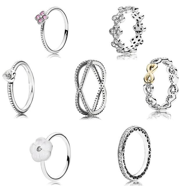 2016 colecção Primavera 925 anéis de prata esterlina para mulheres Flores e corações Anel anillos belas Memnon jóias de prata set