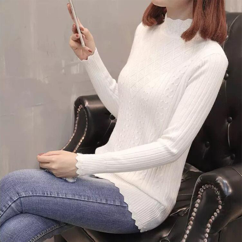 Paris Girl Winter Sweater Women New Fashion Half-Turtleneck Knitted Pullover Slim Large Size Knit Bottom Shirt Women Clothing