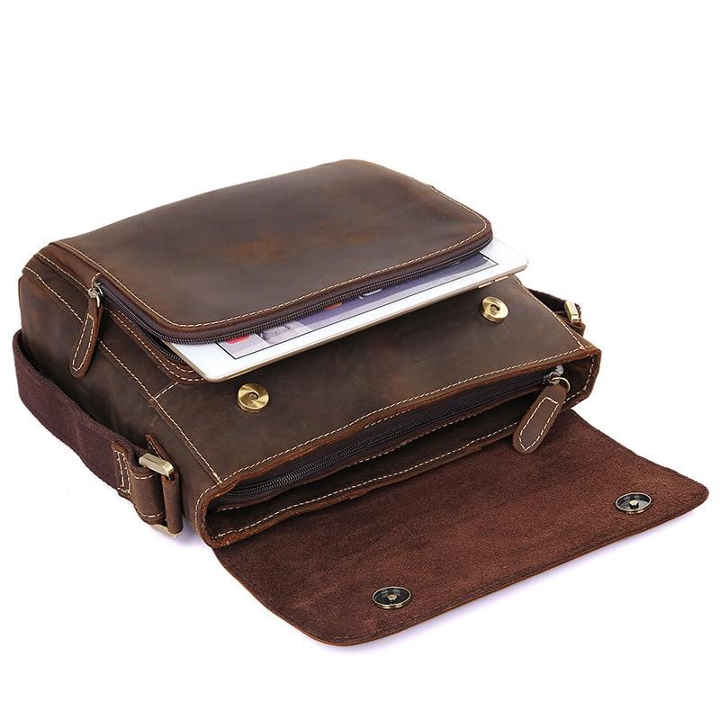 M7051 Echte Crazy Messenger Schulter Horse Männlichen Qualität Dicke Taschen Leder Braun Hohe Tasche Nesitu Kleine Männer Vintage XqafwzxP