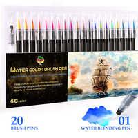 Professional Colors Markers Set Drawing Water Felt Tip Brush Pens Sketching Student watercolor brush Marker School Art Supplies