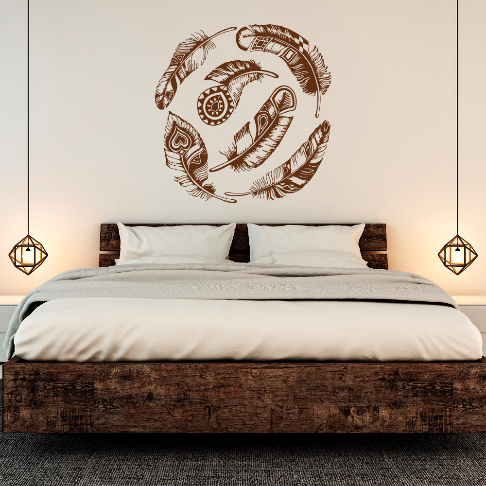 Large Feather Wall Decal Vinyl Sticker Dream Catcher Tribal Decor Boho Wall Art Feathers Decals