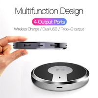 QI Wireless Charger 4 Ports Dual USB Type C Output Charger Smart Portable 9W Fast Charging