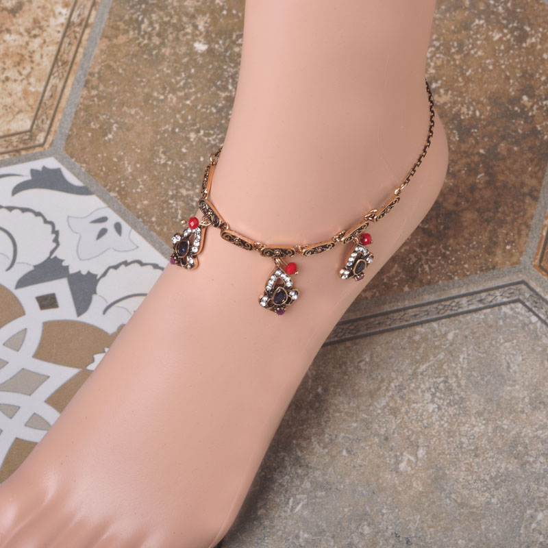 Antique Gold China Ankle Bracelet Cheville Barefoot Sandals Foot font b Jewelry b font For Women