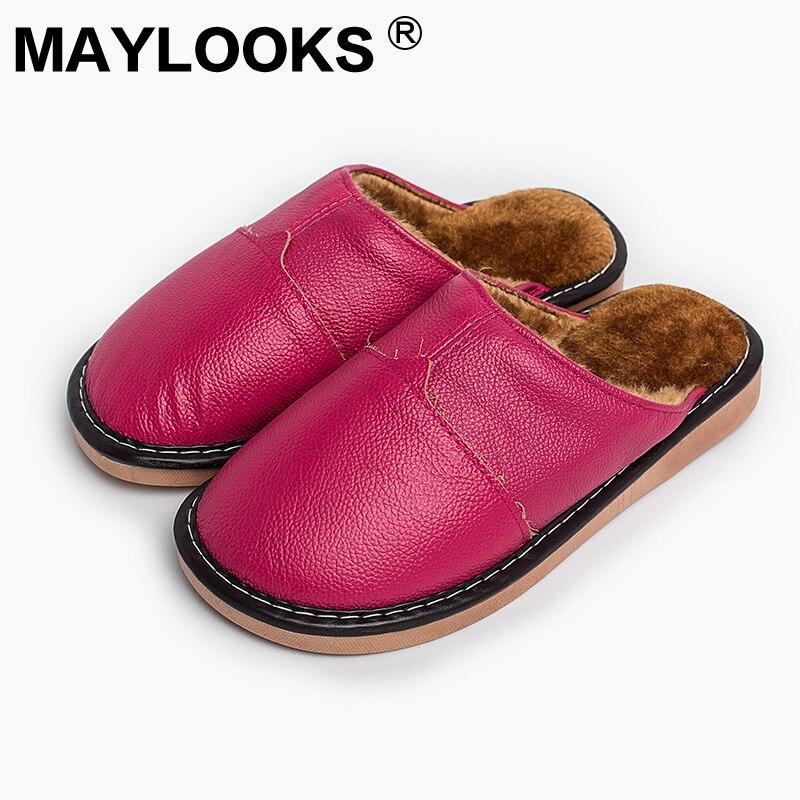 Zapatillas de mujer Zapatillas de invierno de cuero genuino para el - Zapatos de mujer