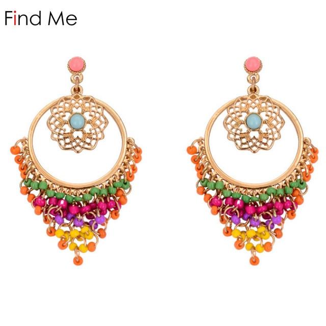 c72b948107ff67 Find Me 2019 new fashion Drop Earrings Vintage punk long ethnic Bohemian  Earrings for Women flowers crystal drop earring Jewelry