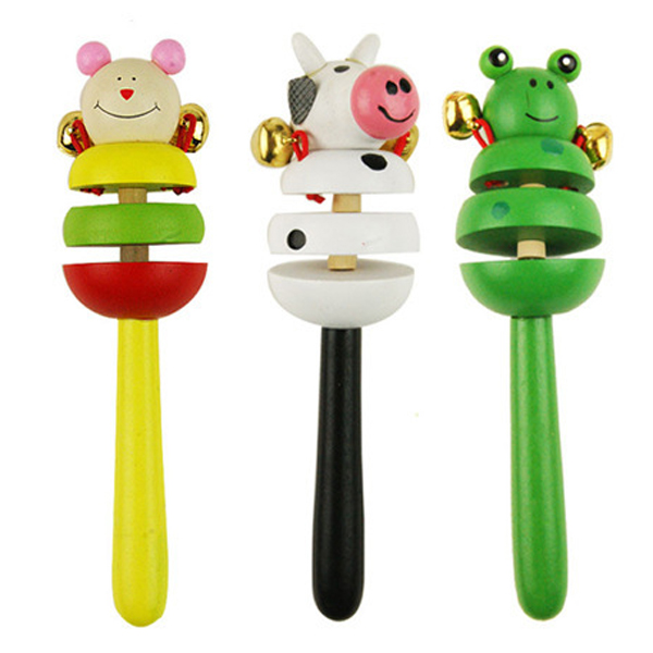 Children's Educational Wooden Toys Colorful Rattle Children Toys Random Color Shaker Toy Cartoon Baby Shaker Toy