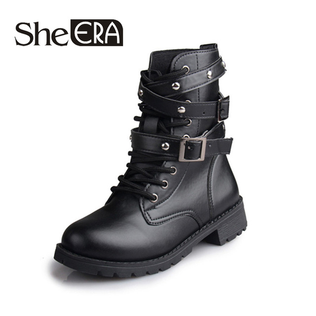 British Style Classic Women Motorcycle Boots Bandage Ankle Waterproof Hiking  Ladies Vintage Rivet Combat Army Shoes Women Boots d62b15ace0