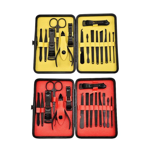 15pcs/set Manicure Set Nail Clipper Tweezers Earpick Grooming ...