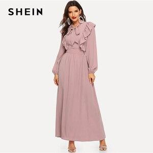 Image 4 - SHEIN rose Abaya cravate cou ajustement et Flare volants plissé taille haute une ligne robe femmes 2019 printemps solide élégant Maxi robes