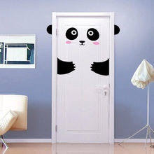 Happy Panda Smiley Door Sticker For Kids Girl Door Panda Wall Sticker For Baby Bedroom Door or Wardrobe Cute Decor T180409(China)