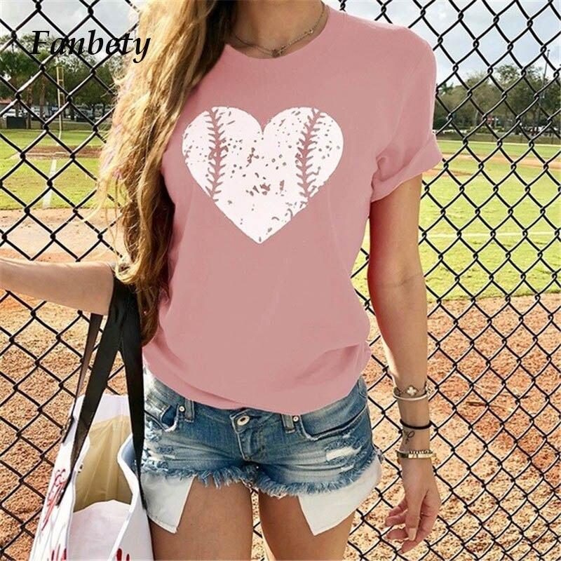 Fanbty Women Fashion Baseball Heart Printed Blouse 2019 Summer Casual O-neck Short Sleeve Tops Elegant New Blusas Pullover 3XL