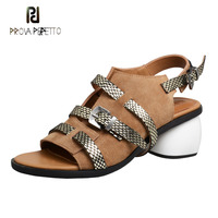 304c9875c4 Prova Perfetto newest cow leather patchwork sandals women flats rivet  buckle strap casual summer shoes soft sole beach