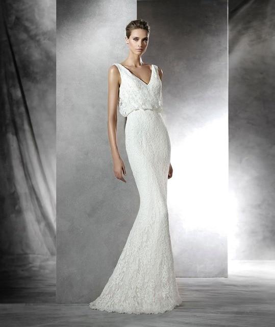 ae6d45d1d5f Contemporary Sheath Floor length Sweep train V neckline Sleeveless Blouson  Bodice Beading Waist Lace Wedding Dress Bridal Gown