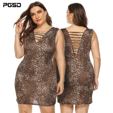 PGSD Summer holiday Nightclub Deep V backless sexy leopard-print vest hip-wrap short Dress female Large-size women clothes 4XL