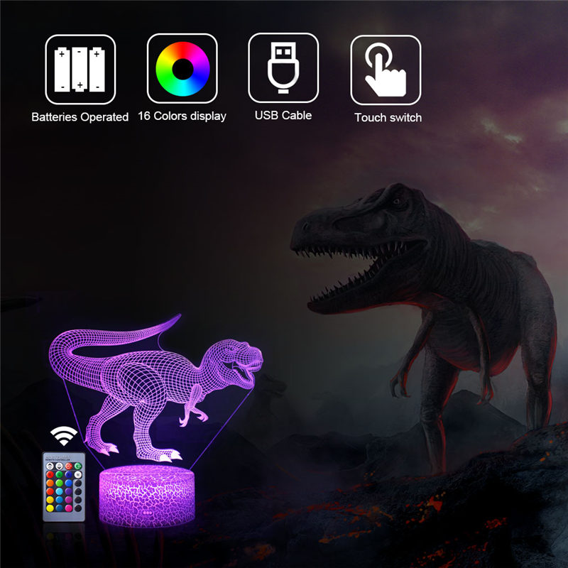 16 Color Dinosaur LED 3D Night Lights Cartoon Fashion Remote Control Table Desk Lamp for Kids Christmas Birthday Gift Baby Toy in LED Night Lights from Lights Lighting