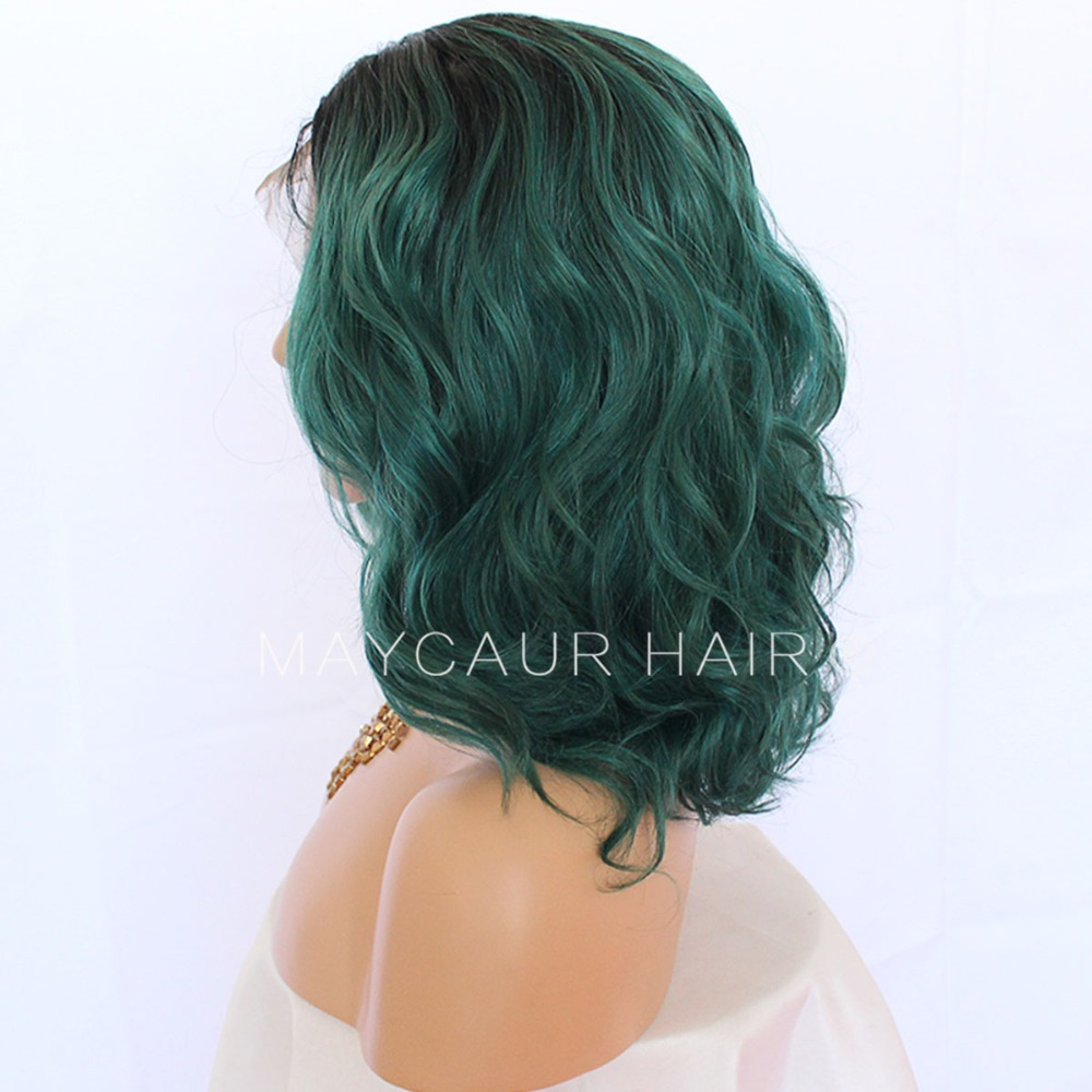 Maycaur Short Wavy Wig Black Green Color Synthetic Lace Front Wigs With Baby Hair 180 Density Loose Wave Lace Front Wigs For Women Black (7)