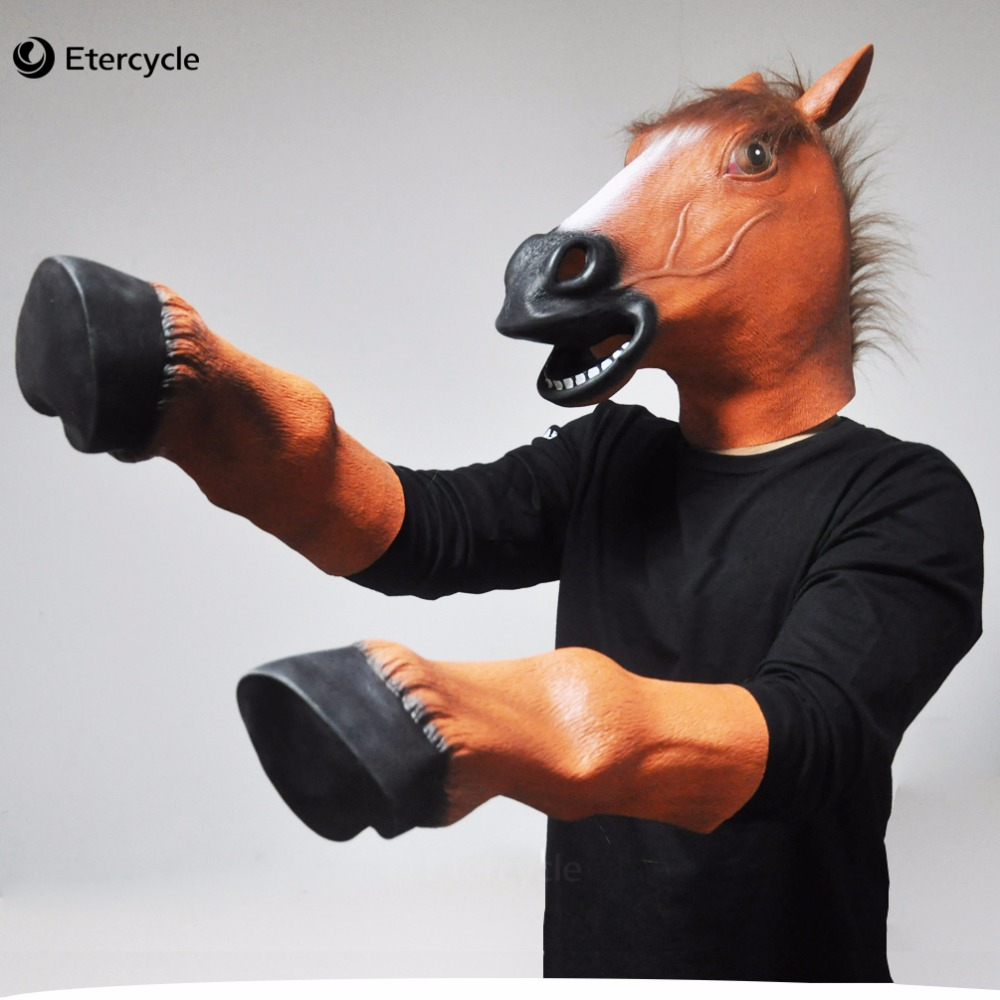 Horse Head Masks and Hooves Gloves Halloween Adult Latex Mask ...