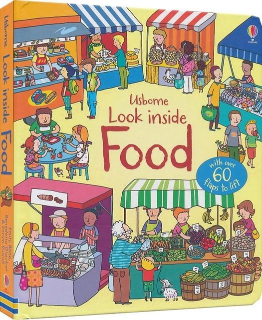 Gran Bretaña inglés 3D usborne observar el interior alimentos libro educación para niños flaps elevación lectura brithday regalo