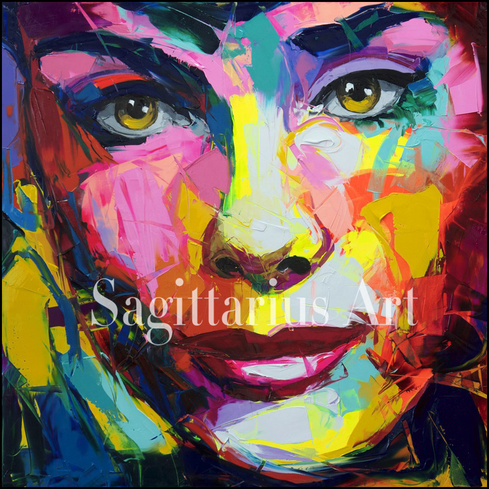 Us 96 0 Hand Painted Abstract Audrey Hepburn From The Francoise Nielly Knife Palette Oil Paintings Art Oil Canvens Decoration Cool Face In Painting