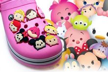 Hot Cartoon 1PCS Tsum Tsum PVC Shoe Charms Shoe Buckle Accessories for Decoration For Bracelet with hole Kids Party Gifts(China)