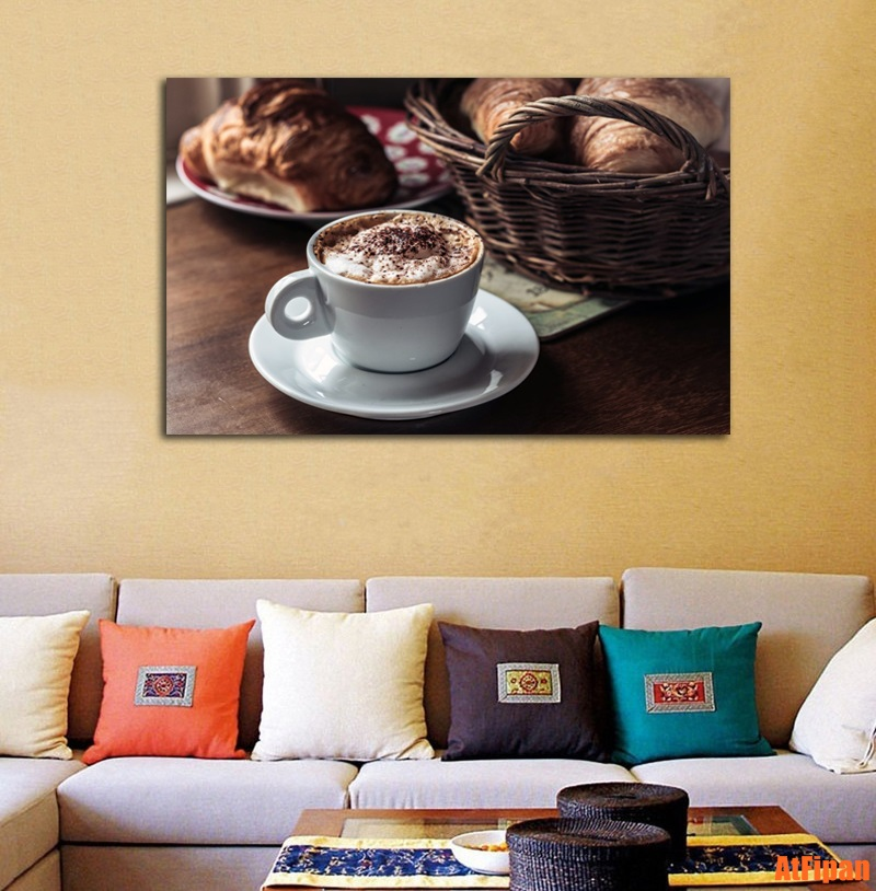 Cappuccino Hot Coffee Wall Canvas Art Rectangle Unframed Painting ...
