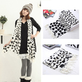 For Lady Girl Fashion Love Heart White Face Black Heart Tassel Scarf Shawl  DM#6