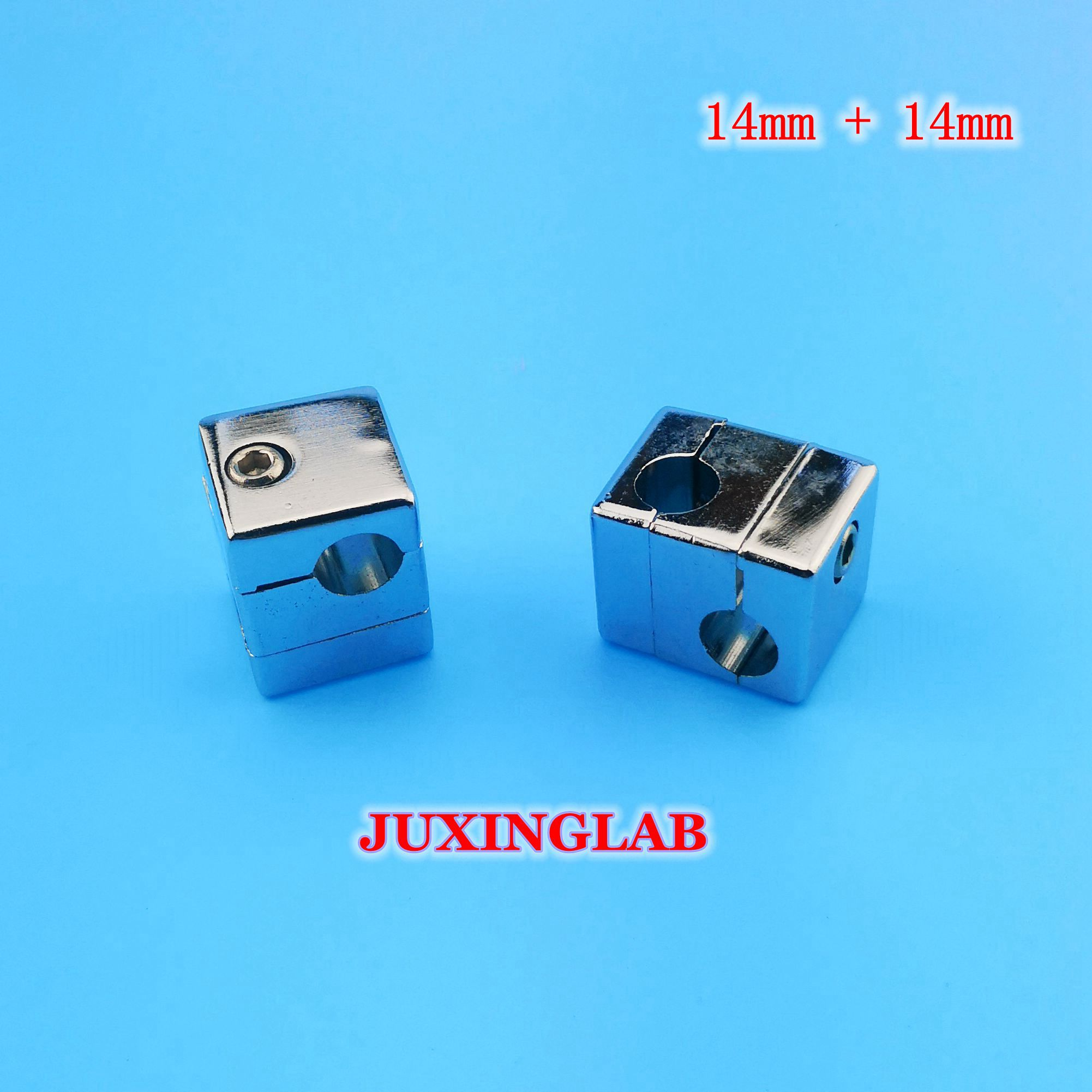 Double Clamp Cruzeta Para Haste 14mm + 14 milímetros de Alumínio ou Liga de Zinco Ni/Cr Chapeado, para a Fixação de Estruturas Perpendiculares