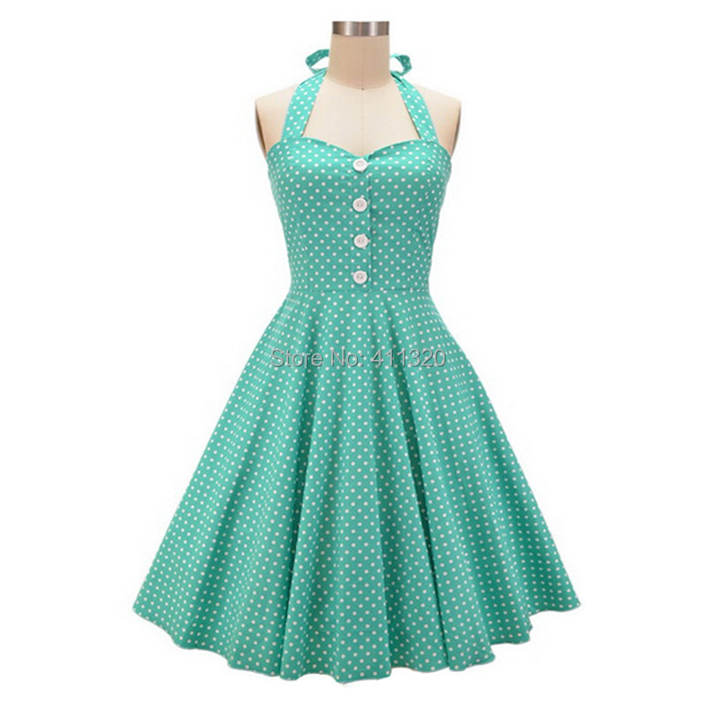 V215 2015 Womens Halter Backless Polka Dots 1940s 50s 60s Vintage Retro Style Rockabilly Pin up Swing Summer Casual Party Dresses (1).jpg