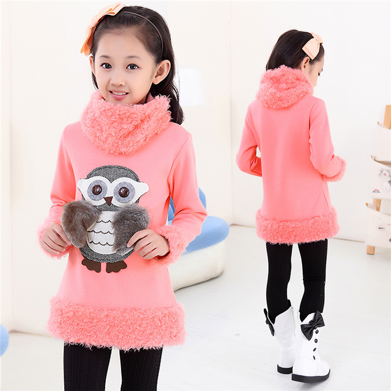 Autumn 2017 Teenage T-shirts Sweater Children's Owl Monsoon Girls T shirt Neckerchief Baby Clothing Winter Plus Velvet Warm Cold black cold shoulder lace up t shirts