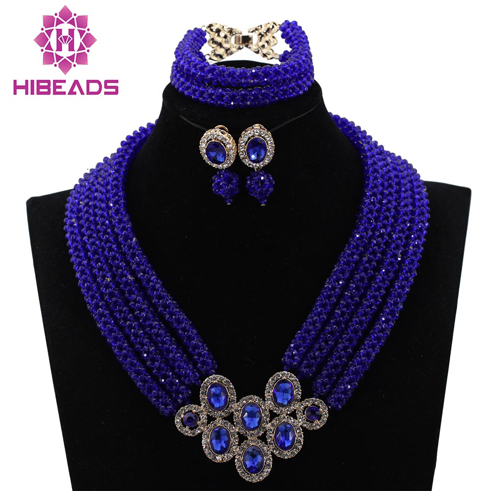 African Royal Blue Beads Earrings Necklace Jewelry Sets For Women Wedding Crystal Accessories Handmade Free Shipping WD074African Royal Blue Beads Earrings Necklace Jewelry Sets For Women Wedding Crystal Accessories Handmade Free Shipping WD074