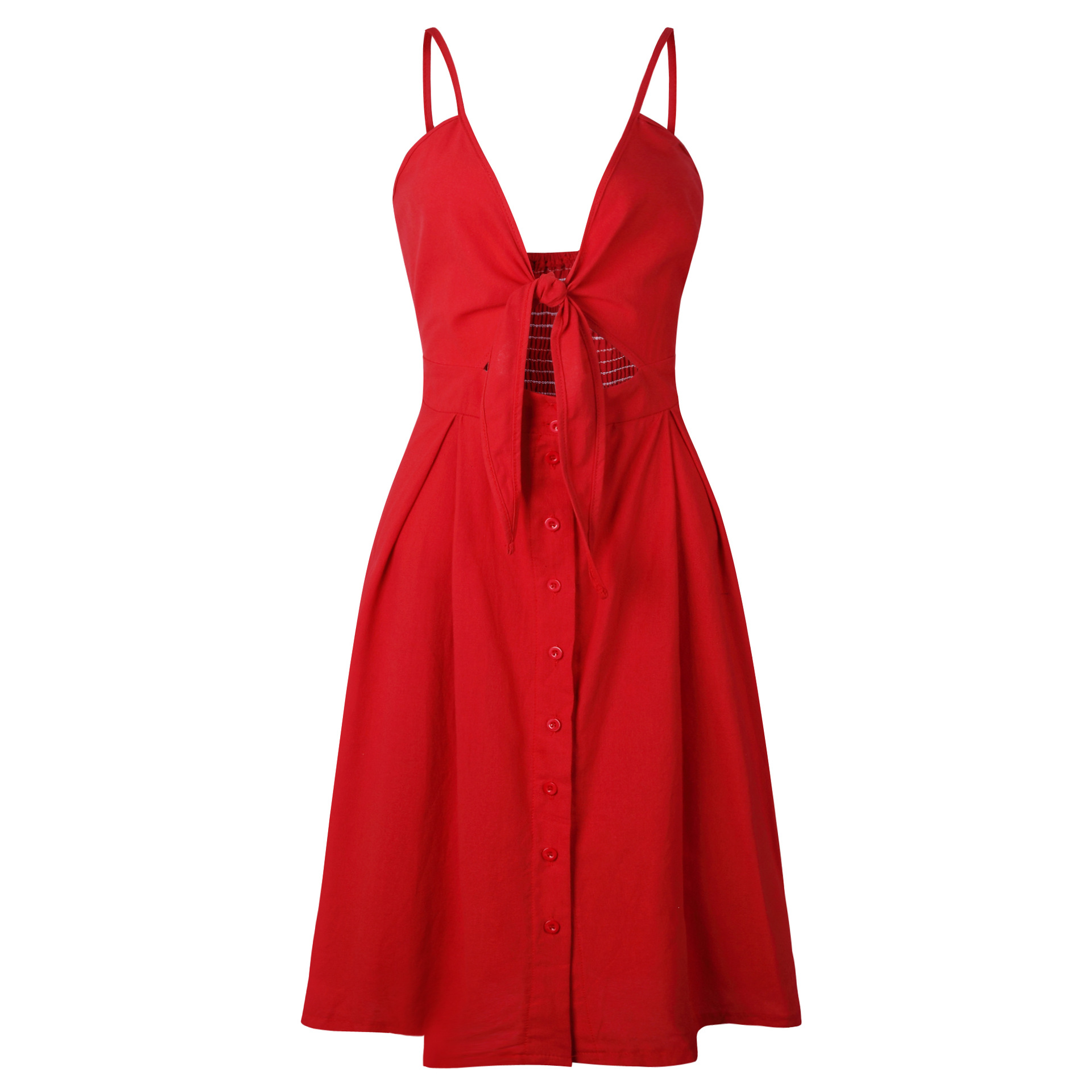 HTB1Qq2rwFuWBuNjSszbq6AS7FXaE - 6 colour Sexy Bow Backless Polka Dots Beach Summer Dress Women Cotton Deep V Neck Buttons Red White Off Shoulder Midi Dresses