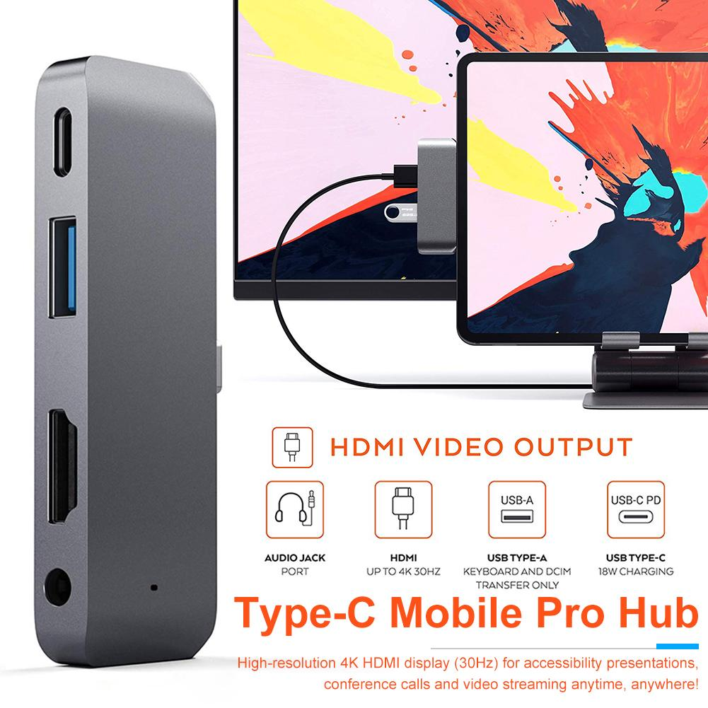 Aluminum Type-C Mobile Pro Hub Adapter With USB-C PD Charging 4K HDMI USB 3.0 3.5mm Headphone Jack For 2018 IPad Pro