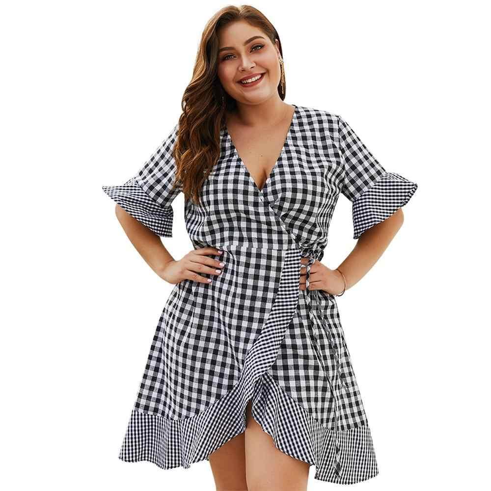 Знаменитые клетчатые платья с v-образным вырезом с высокой талией плюс размер 3XL 4XL Платье женское платье Vestido вечернее платье с расклешенными рукавами