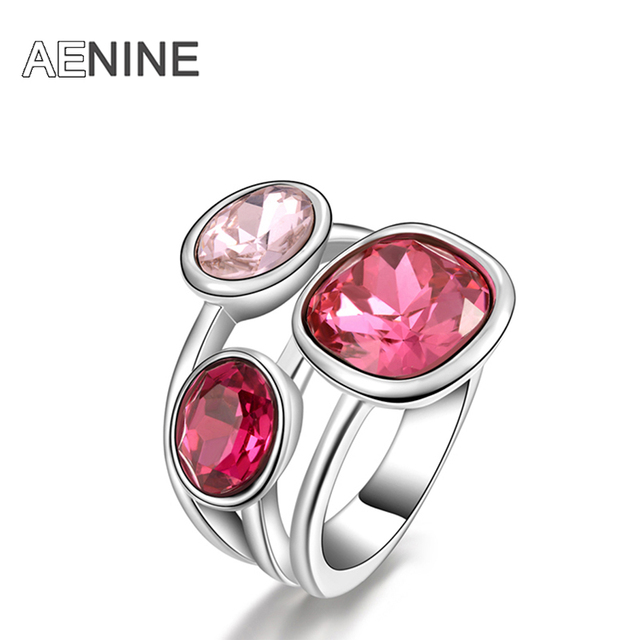 AENINE Classic Engagement Wedding Finger Rings Jewelry Gold Color Micro Inlay Cu