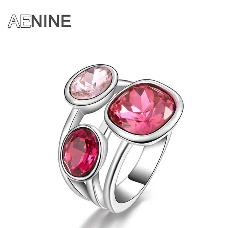 AENINE คลาสสิกหมั้นงานแต่งงานแหวนนิ้วมือเครื่องประดับ Gold สี Micro Inlay Cubic Zirconia แหวนหินสำหรับผู้หญิง R150510240P