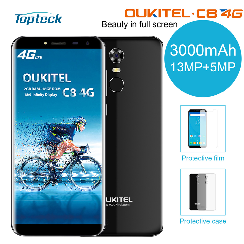 OUKITEL C8 4G Smartphone 18:9 5.5Inch MT6737 Quad Core 13M+5MP Camers 2GB RAM 16GB ROM Android 7.0 3000mAh Battery Mobile Phone