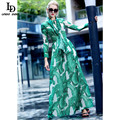 Fashion 2016 Runway Maxi Dress Autumn New Women's High Quality Long Sleeve Print Banana leaf Gerrn Casual Long Dress