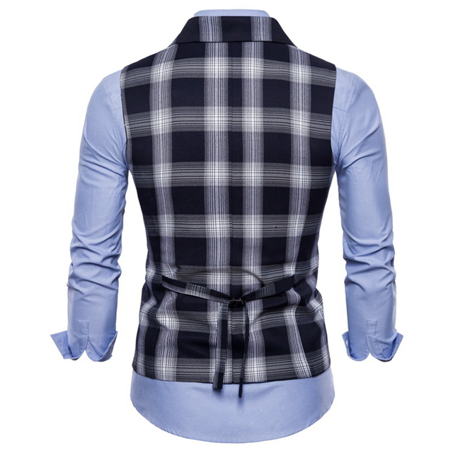 Double Breasted Vest Suit Men 2019 New Arrival High-quality Men's Casual Plaid Waistcoat Double Breasted Vest 6