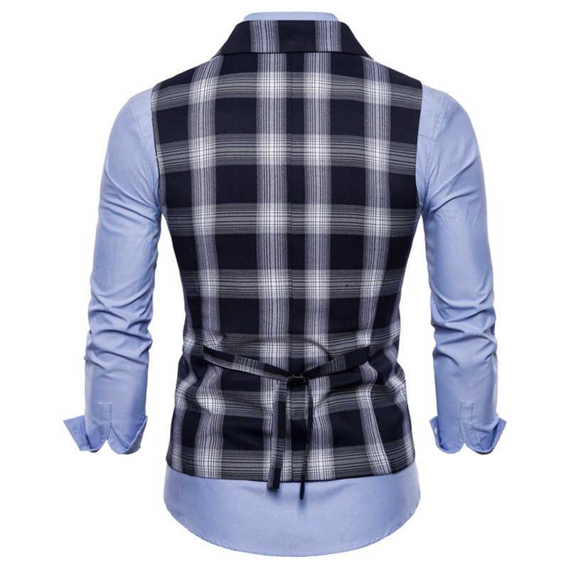 Podwójnie zapinana kamizelka garnitur mężczyzn 2019 New Arrival wysokiej jakości męska Casual Plaid kamizelka podwójnie zapinana kamizelka