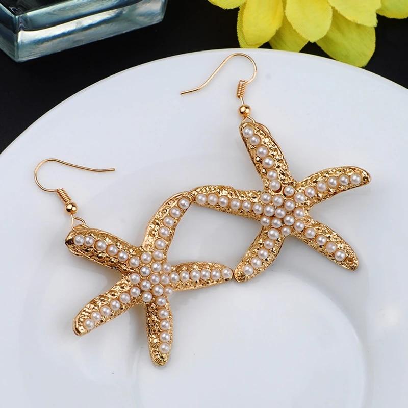 1 Pair Lady Shell Pearl Beach Starfish Stud Dangle Drop Earrings Fashion Jewelry