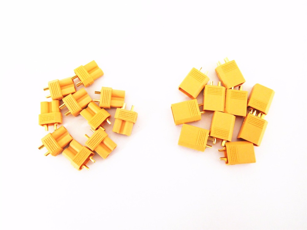 100 Pairs XT30 2mm Golden Connector LiPo Battery Plug Male Female Connectors for for RC Mini
