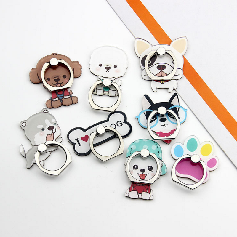 1PC Creative 360 Degree Metal phone holder Stand socket Ring cute Dog Cartoon Puppy Smartphone Ring Holder Action figure toys