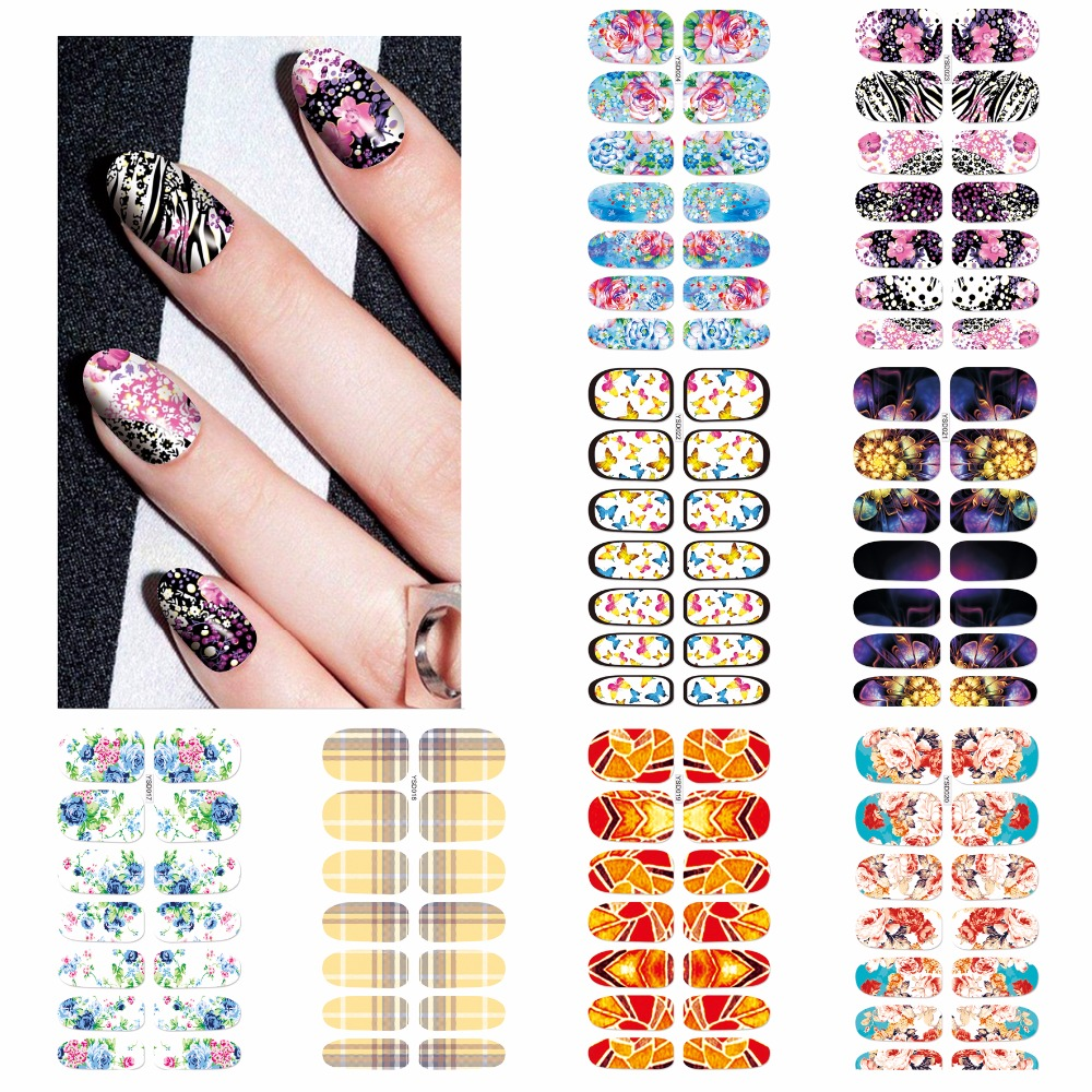 ZKO 1 Sheet Optional Beautiful Full Cover Wraps Nails Decals Water Transfer Nail Art Stickers free shipping new 2017 hot 13 single pure color series classic collection manicure nail polish strips nail wraps full nail sheet
