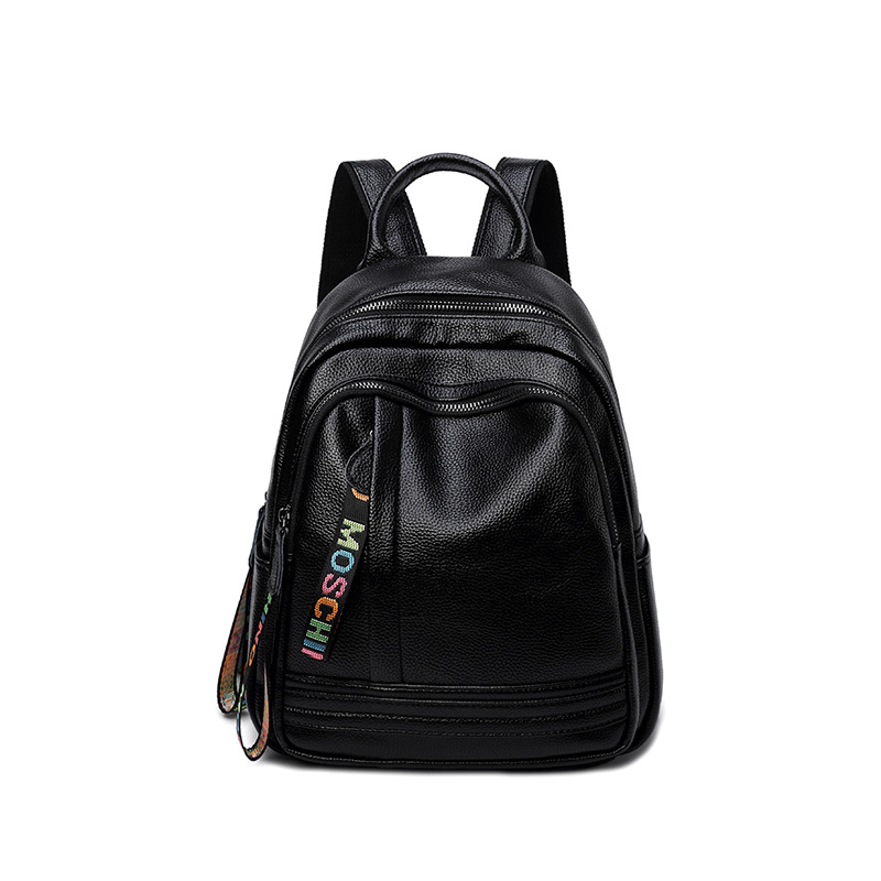 Women Black Preppy Style Cover Backpack Popular Brief Girl's School bags/Double Shoulder Bags Made By Cow Leather for Teenagers 2017 new style genuine leather women bags punk women double shoulder bags black cow leather casual travel backpack