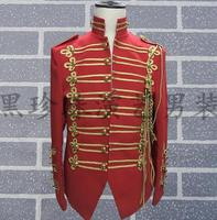 Personality Red Military Male Blazer Men Suits Designs Performance Dance Costumes For Singers Men Wear Clothes
