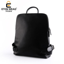 ETONWEAG New 2017 women famous brand Italian leather black fashion school bags laptop travel bag zipper business style backpacks