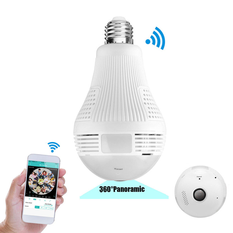 960 P WiFi IP Camara Espia Panorâmica de 360 Graus Lâmpada Lampada De Vigilância Por Vídeo Sem Fio Home Security Wide Angle Mini cam