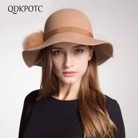 QDKPOTC 100% Wool Women Floppy Wide Brim Fedora Hat For Elegant Lady Winter Autumn Fur Ball Jazz Church Panama Sun Hat